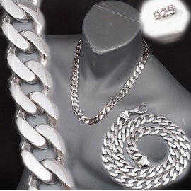 Men's 9mm Real 925 Sterling Silver Cuban Link Curb Chain Necklace