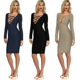 Womens Deep V-Neck Bodycon Bandage Long Sleeve Cocktail Evening Party Sexy Dress