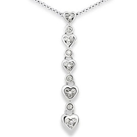 Round Diamond Five Graduated Heart Pendant in Platinum(Color: I, Clarity: I1, Weight: 0.16ctwt)
