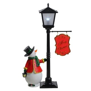 "14.5"" Mini Pre-lit Street Lamp and Snowman Christmas Table Top Display"