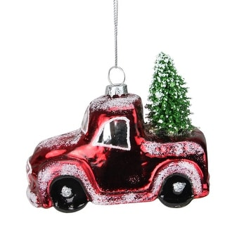 "4.25"" Red and Green Frosted Shiny Red Pickup Truck with Tree Flocked Glass Christmas Ornament"