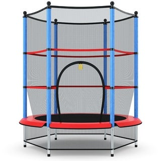 Costway Youth Jumping Round Trampoline 55'' Exercise W/ Safety Pad