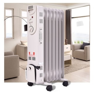 Costway 1500W Electric Oil Filled Radiator Space Heater 5-Fin