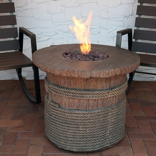 Sunnydaze Rope and Barrel Propane Gas Fire Pit Table w/ Cover & Lava Rocks - 29""