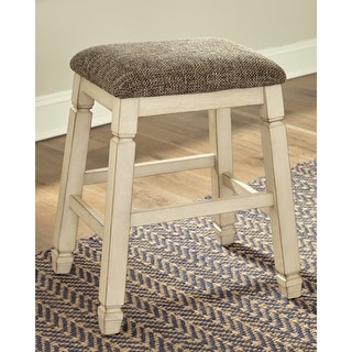 The Gray Barn Willow Cottage Antique White Upholstered Stool (Set of 2)