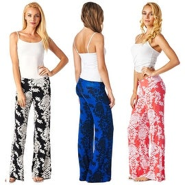 New Women's Summer Casual Comfort Relaxed High Waist Floral Print Paisley Palazzo Pants