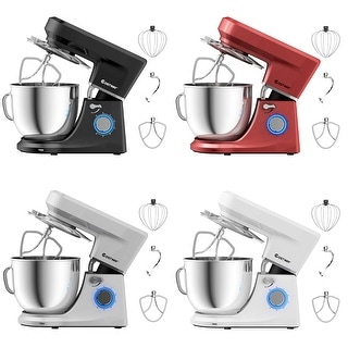 Tilt-Head Stand Mixer 7.5 Qt 6 Speed 660W with Dough Hook, Whisk &