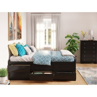 Prepac Tall Queen Captain's Platform Storage Bed with 12 Drawers