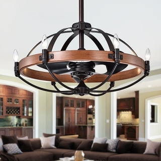 Gredis Black 30-inch 6-light Ceiling Fan Chandelier