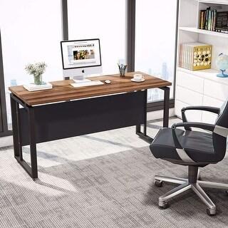 L-Shaped Computer Desk, 55 inch Home Office Desk - Dark Walnut