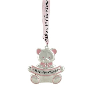 "3"" Pink and Silver Teddy Bear ""Baby's First Christmas"" Ornament"