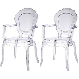 2xhome - Set of Two (2) - Clear - Modern Belle Ghost Chair Armchair With Arm Polycarbonate Plastic Clear Transparent