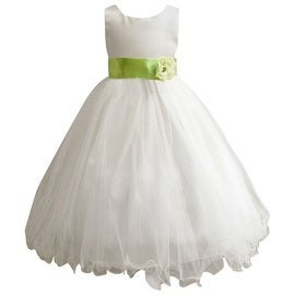 Wedding Easter Flower Girl Dress Wallao Ivory Rattail Satin Tulle (Baby - 14) Green Apple
