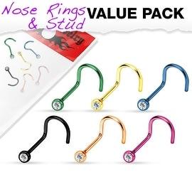 6 Pcs Value Pack of Assorted Press Fit Clear Gem Titanium IP 316L Surgical Steel Nose Screw