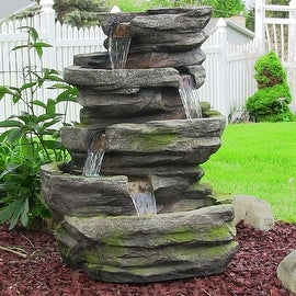 Sunnydaze Electric Lighted Cobblestone Waterfall Fountain with LED Lights, 31 In
