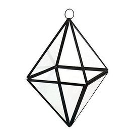 "CYS® Hanging Glass Vase Geometric Metal Frame Diamond Pyramid Terrarium - 8"" (Chain Included)"