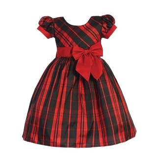 Lito Toddler Girls Red Black Plaid Short Sleeve Ribbon Christmas Dress