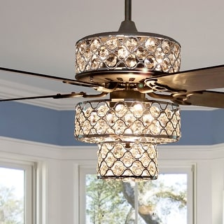 "Silver Orchid Guinn Triple-Tiered Crystal Ceiling Fan - 52""L x 52""W x 18"
