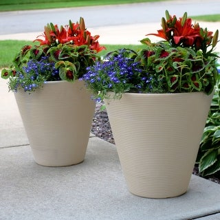 "Sunnydaze Walter Outdoor Double-Walled Flower Pot Planter - Beige - 16"" - 2-PK - Set of 2"