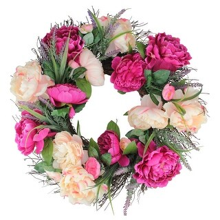 Peony and Twig Spring Floral Wreath, Pink 22-Inch