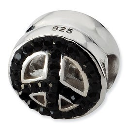 Sterling Silver Reflections Black Graduated Crystal Peace Symbol Bead