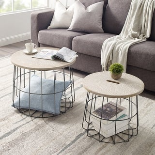 Carbon Loft Racz Medallion Nesting Basket Tables