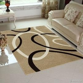 "Allstar Brown / Beige Modern Geometric circle design Area Rug (5' 2"" x 7' 2"")"