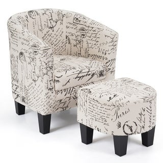Costway Barrel Accent Chair Tub Chair Linen Fabric Upholstered