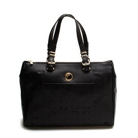 Versace Collection Leather Laser-Cut Tote Handbag Black