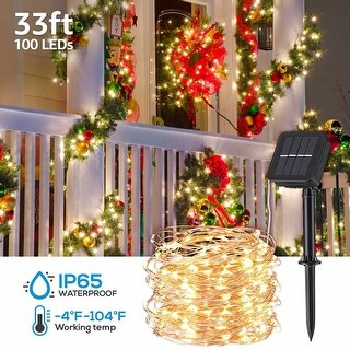 4 Pack 39ft IP65 Waterproof 100 LED Solar String Lights, 8 Modes, Warm White