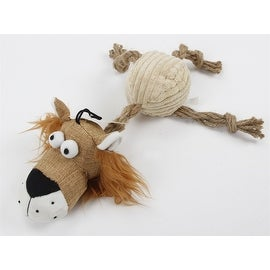 Plush Lion with Knotted Ropes Durable Puppy Dog Chew Toy with Squeaker