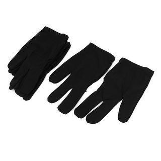 Sport Billiard 3 Fingers Elastic Gloves Black 3 Pairs for Pool Cue