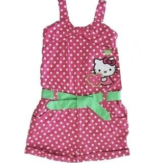 Hello Kitty Little Girls Fuchsia White Dotted Studded Applique Romper 4-6X