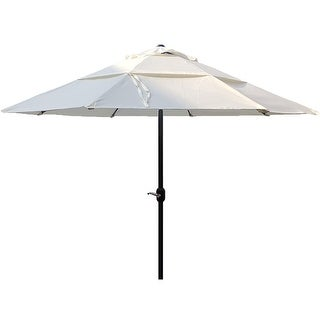 10'Delux Round Maket Patio Umbrella Doulbe Airvent for Garden Pool