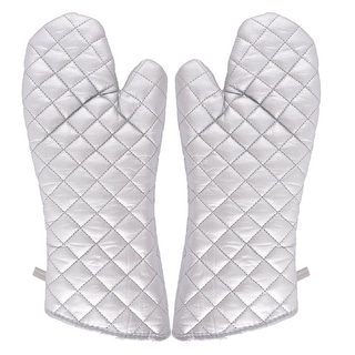 "Kitchen Bakery Heat Resistance Microwave Baking Oven Mitt Gloves Silver White - 37 x 15cm/14.6"" x 5.9""(L*W)"