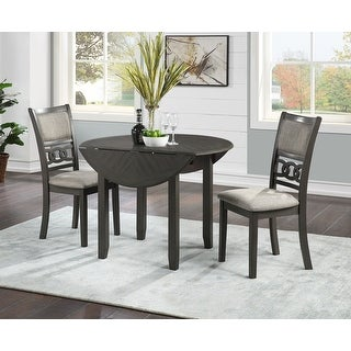 """Gia 42"""" Dining Drop Leaf Table W/2 Chairs-gray"""