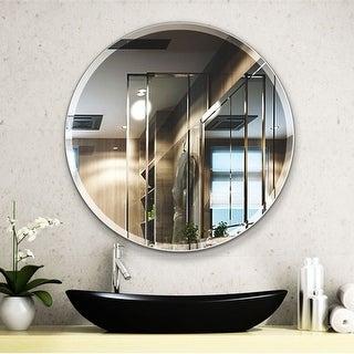 Porch & Den Salix Beveled Frameless 28-inch Round Wall Mirror