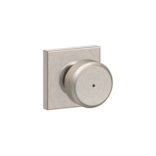 Schlage F40-BWE-COL Bowery Privacy Door Knob Set with Decorative - Satin Nickel