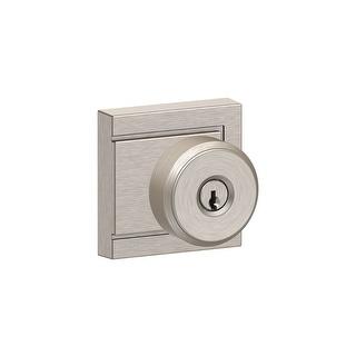 Schlage F51A-BWE-ULD Bowery Keyed Entry Single Cylinder Door Knob Set - Satin Nickel