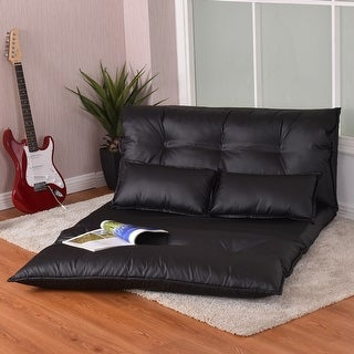 Costway PU Leather Foldable Modern Leisure Floor Sofa Bed Video Gaming