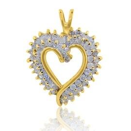 1/2cttw Diamond Heart Pendant 10K Yellow Gold 24mm Tall (i2/i3, i/j)