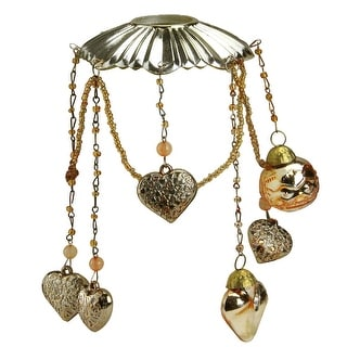 "6.5"" Antique Gold Glass Bobeche Candle Ring with Hanging Heart Charms"