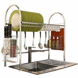 24.8'' Stainless Steel Dish Rack,Over the Sink Dish Cutlery Drying Rack Drainer Kitchen Shelf Holder Storage(Silver)