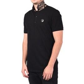 Versace Collection Men's Baroque Print Soft Cotton Undercollar Polo Shirt Black