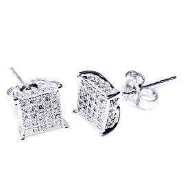 1/5cttw Diamond Stud Earrings Cube Shaped 10K White Gold 7mm Wide