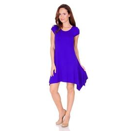 SR Women's Short Sleeve Stretch Swing Handkerchief Hem Dress Medi Dress