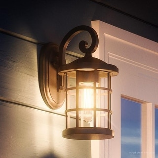 """Luxury Craftsman Outdoor Wall Light, 11""""H x 6""""W, with English Tudor Style, Wrought Iron Design, Natural Black Finish"""
