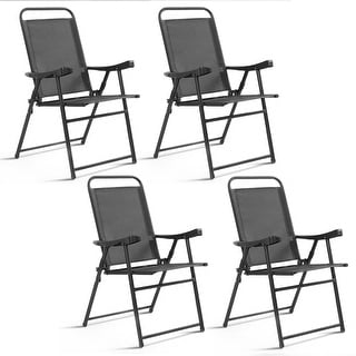 Costway Set of 4 Folding Sling Chairs Patio Furniture Camping Pool