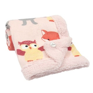 Lambs & Ivy Little Woodland Animals Luxury Minky and Sherpa Baby Blanket