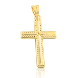 10K Gold Cross Charm 47mm Tall Mens Cross Pendant